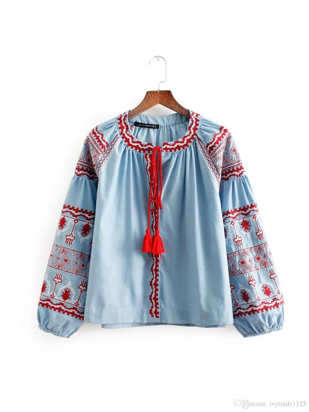 Mulheres roupas top gola Redonda manga longa Bordado Design mulheres blusa senhora casual camisas elegantes