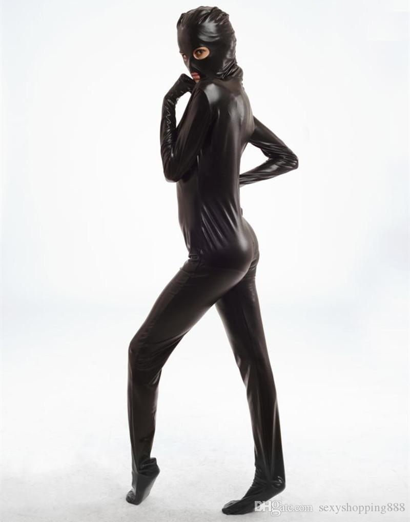 Spandex Bodysuit Shiny Catsuit Sexy Unisex Zentai Full Body Suit Sex Erotic Party Wet Look One Piece Unitard Adult Game Lingeries