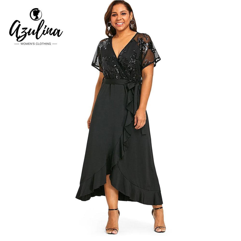 AZULINA Plus Size Sequins Belted Maxi Dress 2018 Women Summer Dresses Short  Sleeve V-Neck Elegant Party Dress Vestidos Robe 5XL Robe 5xl Plus Size Maxi  Plus ... bffec6e9c80d