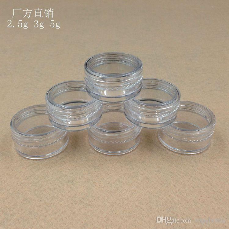 Barattolo di crema di plastica 2g, 3g, 5g vasetto in polvere trasparente, vasetto di crema di colore chiaro, confezione cosmetica ombretto