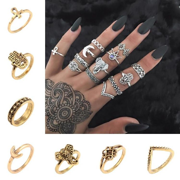dd042b2c83 Vintage Geometric Engraving Pattern Knuckle Rings Set / Set Of Boho Totem  Design Ring Finger Wide Ring Jewelry Set Band RingT6C116 Cheap Wedding Rings  Mens ...