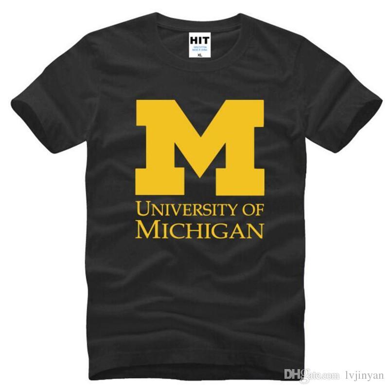 Michigan üniversitesi Logosu Baskılı T Gömlek Erkekler Yaz Tarzı Kısa Kollu O-Boyun Pamuk erkek T Shirt Yenilik Erkek Üst Tee S-3XL