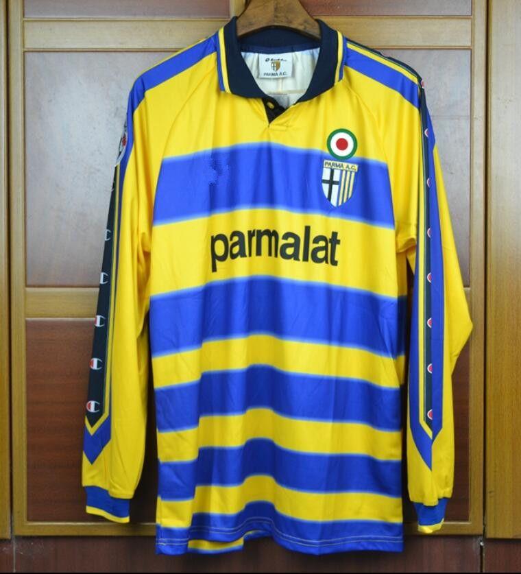 99 00 Parma Crespo Cannavaro Italia Retro Soccer Jersey 1999 2000 Camisetas  De Fútbol De Manga Larga Camisa Futebol Maglie Calcio Por Fansclubsoccer c5fecffcdd2df
