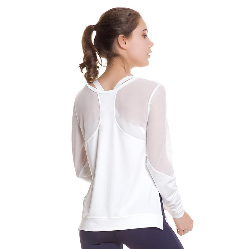 9d48bfdf68 2019 GXQIL Sexy Mesh Yoga Shirts Long Sleeve Women Sport Top White Black  Brand Sports T Shirt 2018 New Female Gym Workout Clothes S L From Capsicum,  ...