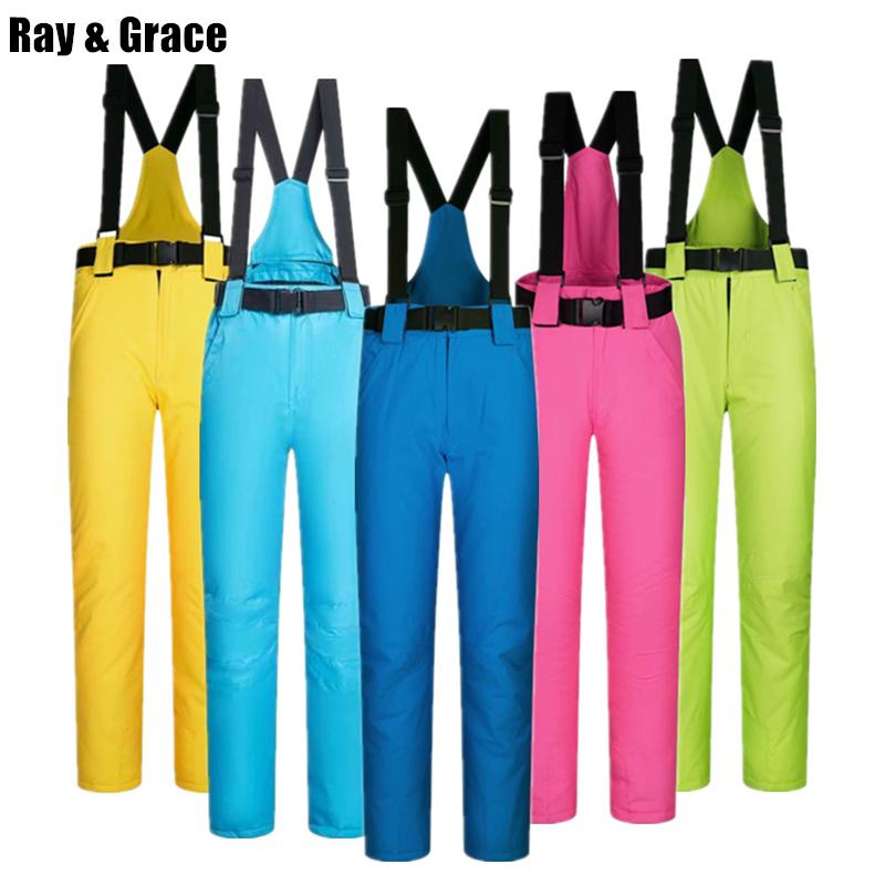 RAY GRACE Winter Outdoor Sports Pants Ski For Men And Women Snow Snowboard  Trousers With Suspenders Thicken Thermal Waterproof Skiing Pants Cheap  Skiing ... a1cde841b
