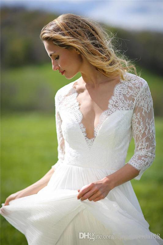 Abiti da sposa a maniche lunghe 3/4 con maniche lunghe in pizzo con scollo a V dietro una linea di abiti da sposa