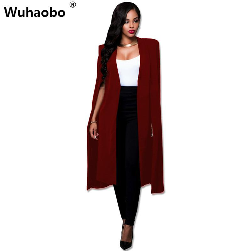 2019 Wuhaobo Plus Size Fashion Cape Coats Long Solid Cloak OL Blazer  Jackets The Five Colors Cape Blazers Personality Woman Suit Tops From  Silan e64a03123142