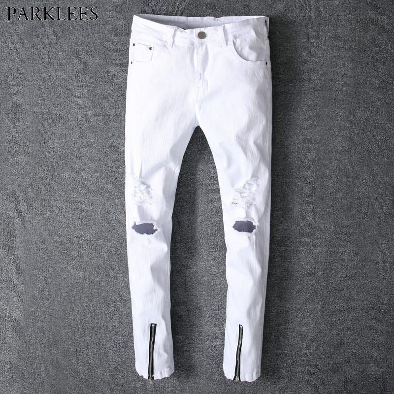 Swag Zipper 2019 Fashion Bottom 2018 Skinny Jeans Ripped Homme Jeans Denim Pants Casual Style From White Holes New Erzhang Hiphop Summer Men vaxrv