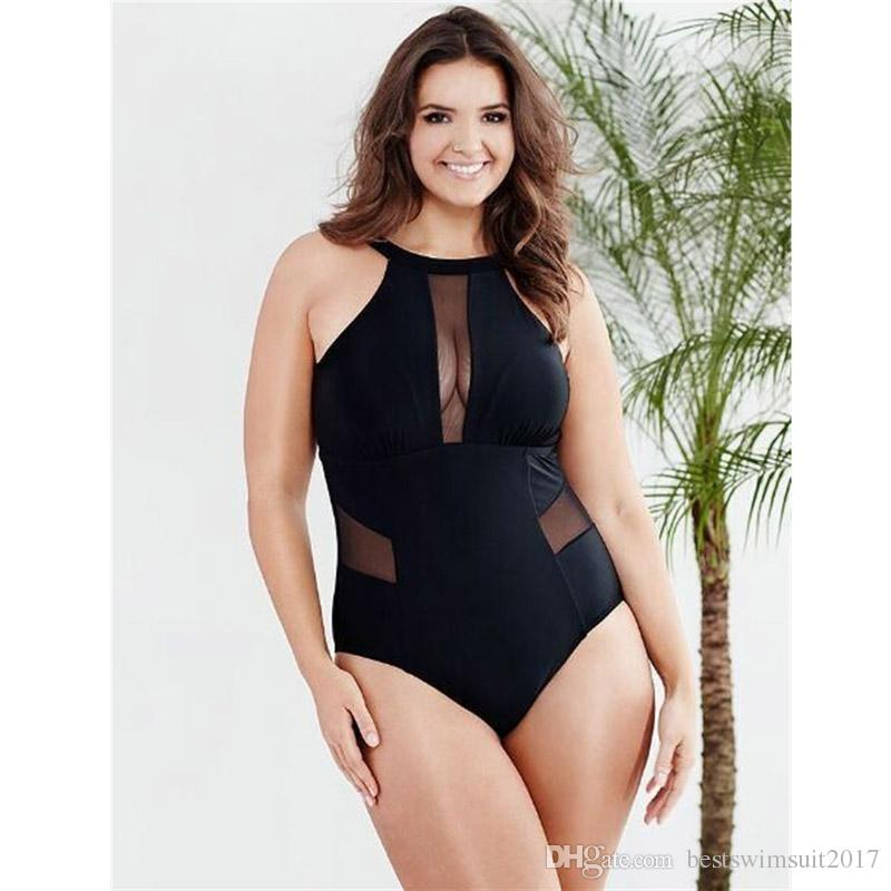 6830ffb0cd9af 2019 2018 Sexy Black Padded Mesh Swimming Suit One Piece Swimsuit Swimwear  Plus Size Women Beachwear Large Size Swim Wear Bathing Suits L XXXL From ...