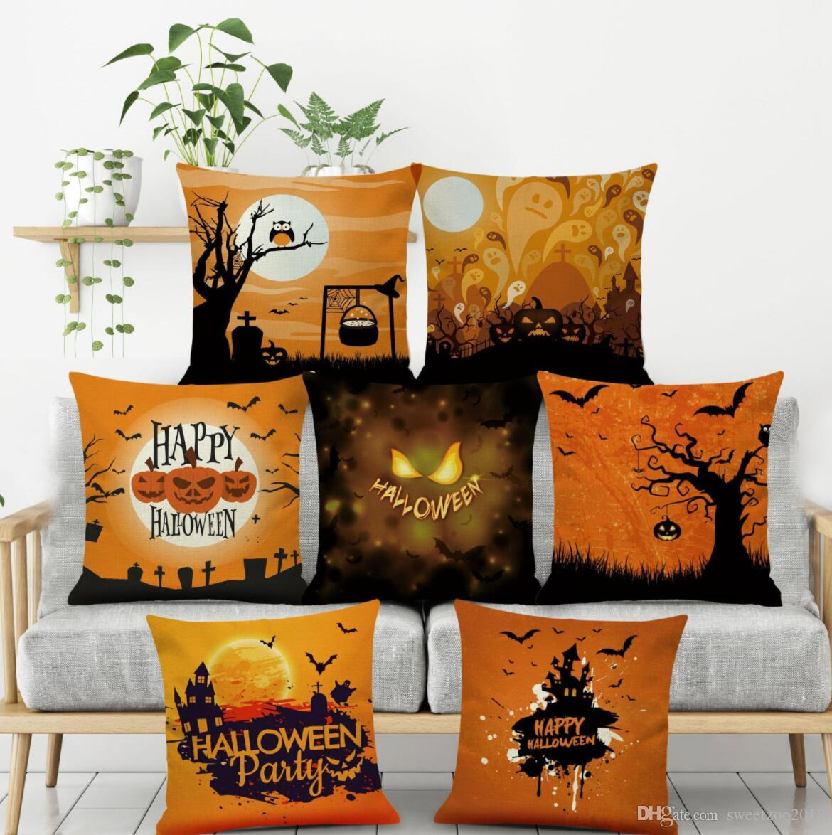 Printing Hallowmas Pumpkin Pillowcase Throw Pillow Covers Home Decoration  45*45 Cm Square Linen Couch Sofa Chair Back Cushion Outdoor Cushion Covers  Online ...