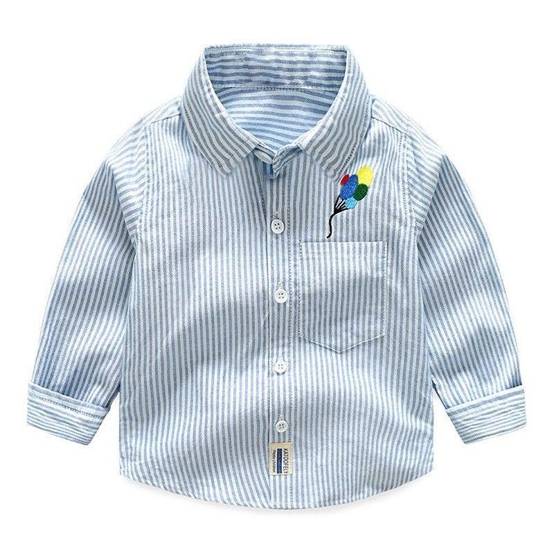 793082de7c69 Turn-down Collar Children s Shirts Button Striped Shirt Long Sleeve ...