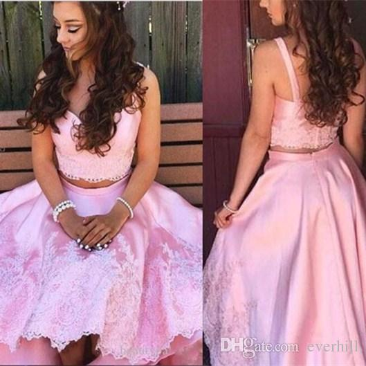 4b2eb0a660c6 JaneVini 2018 Pink High Low Arabic Prom Dresses Short Front Long Back Lace  Satin Girls Special Occasion Dress Hi Lo Party Gowns Lavender Prom Dresses  Light ...