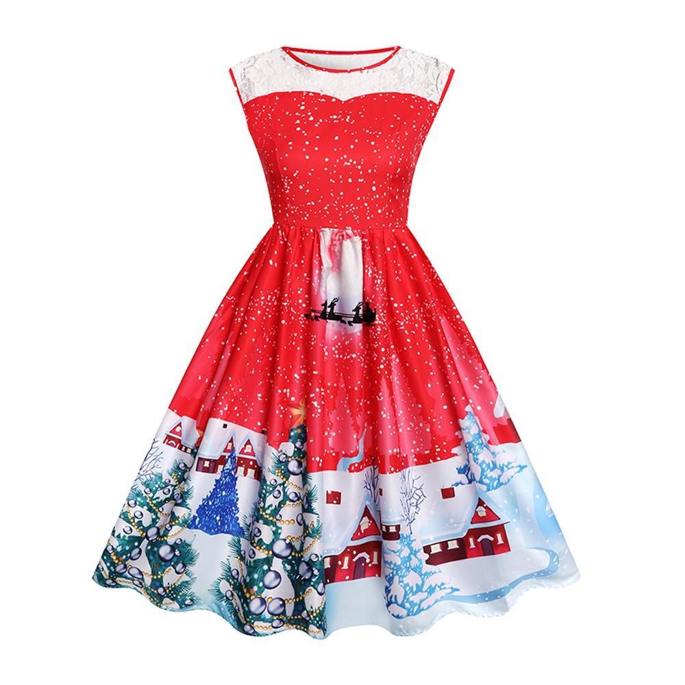8249b78188746 ... Vestito Da Midi In Pizzo Vintage Da Donna Elegante Albero Di Natale  Dolce Stampato Con Neve Blu Elegante Da Sera Da Sera Femminile Rosso  Sottile Abiti ...