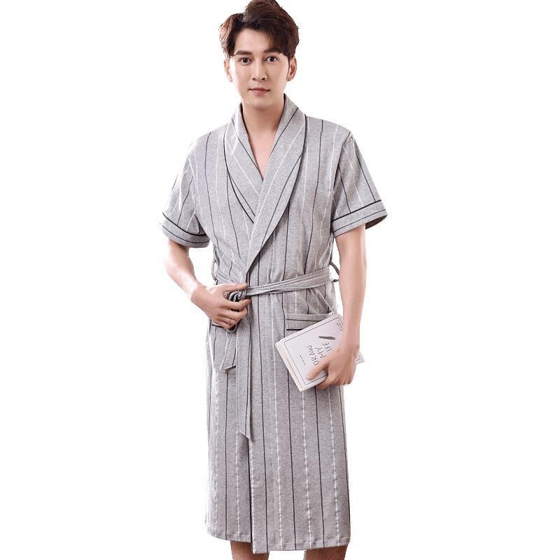 2019 Striped Robe Men Summer Short Sleeve 100 Coon Bathrobe Male V