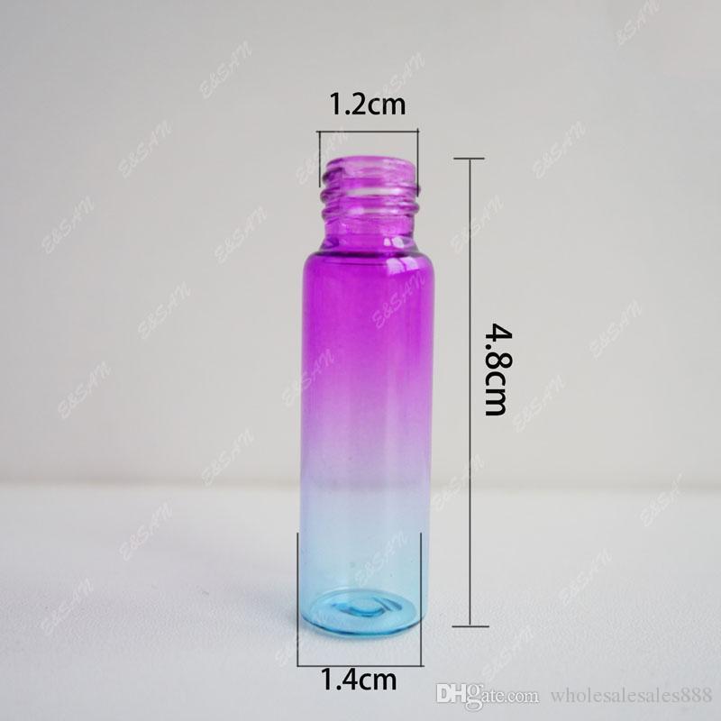 200 adet / grup 5 ml Renkli boş Cam Parfüm Şişesi 5cc Doldurulabilir Mist Sprey Şişe Seyahat Atomizer kozmetik kapları