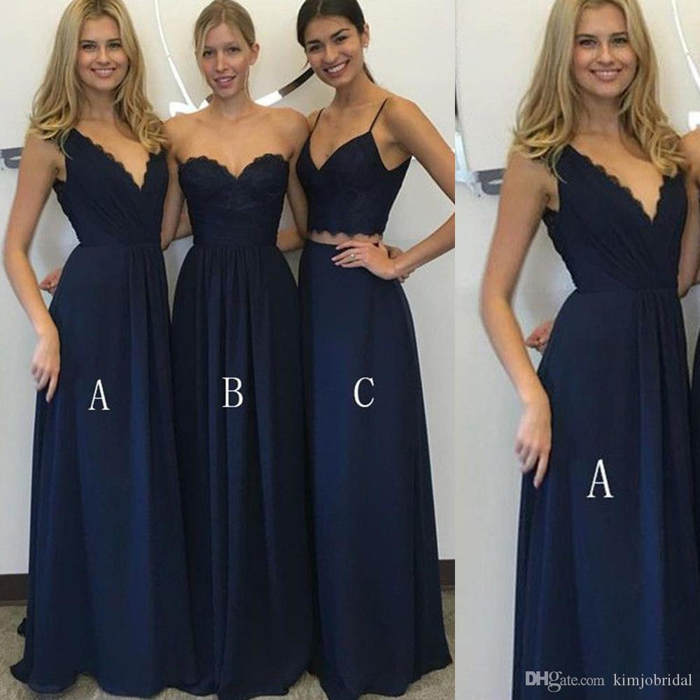 Cheapest navy bridesmaid dresses sweetheart neckline chiffon lace cheapest navy bridesmaid dresses sweetheart neckline chiffon lace floor length long maid of honor dresses gowns sexy cadbury purple bridesmaid dresses uk ombrellifo Gallery