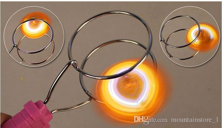 New Magic LED gyroscope flash toys stall selling magnetic spinning top track yo-yo good toy for kids