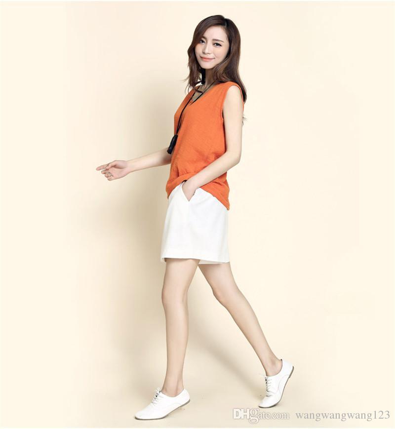 Women Loose Shorts orange black Cotton Linen Blend Breathable summer lady Wide leg wild shorts Pants Elastic Wait band Pleated Pockets