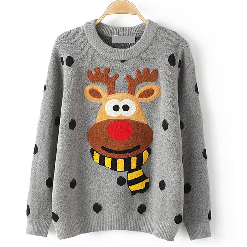 f2ceed7b115969 2019 TryEverything Ugly Christmas Deer Sweater Women Winter 2017Cotton O  Neck Gray Jumper Knitted Pullover Sweater Female Long Sleeve From Honey333,  ...