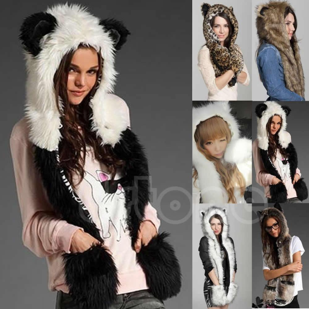 Winter Faux Fur Hood Animal Hoods Hat Cap Cartoon Plush Hats With Scarf  Paws Sets Warm Caps Beanies Cartoon Panda Wolf Hat Baseball Cap Slouchy  Beanie From ... 0a912f9d05c