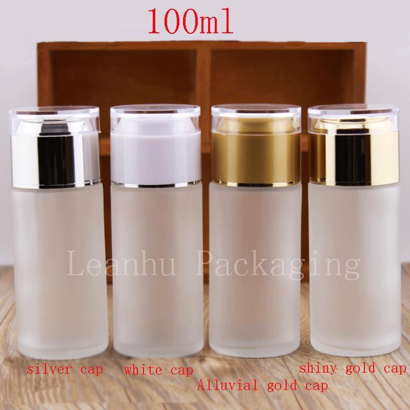 Botellas vacías de vidrio esmerilado de 100 ml, botella de aceite esencial 100cc, botellas de empaque de loción cosmética vacía, botella transparente