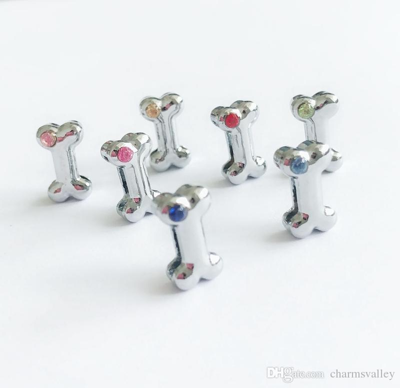 30 Unids 8 MM Mezclado Color Un Rhinestone Dog Bone Slide Charms Cartas Accesorios de BRICOLAJE Ajuste 8mm Wristband Pet Name Collares Cinturones Tiras de teléfono