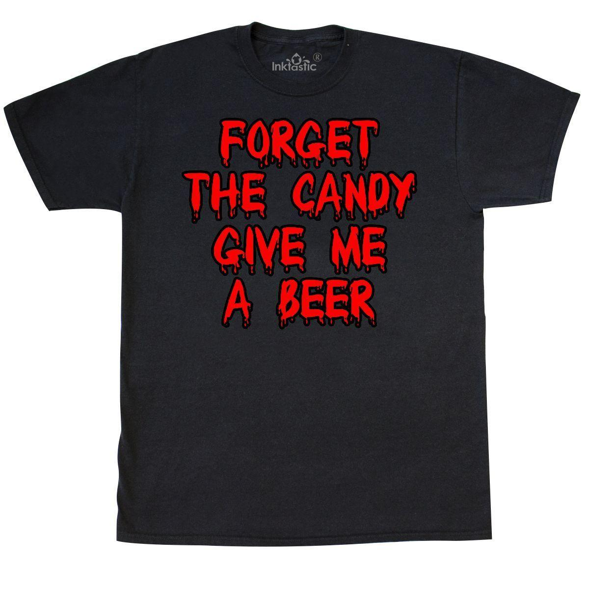 Inktastic Forget The Candy Give Me A Beer T-Shirt Halloween Adult Alcohol  Drinks