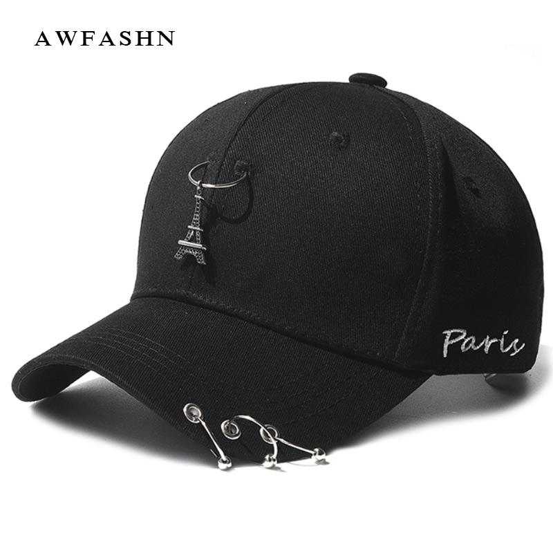 9acfd3553b1 New Baseball Caps Black Hip Hop Hat Paris Tower Man Woman Cap With Rings  Embroidery High Quality Fashion Solid Sport Bone Metal Caps Hats Fitted Cap  From ...