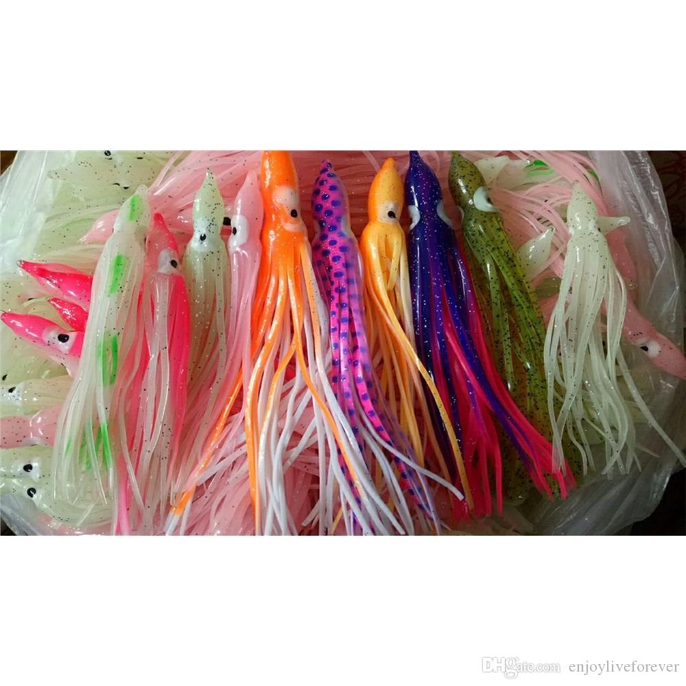 12cm 14cm Soft Squid Skirt Fishing Lure Lifelike Octopus Bait Artificial Threads Skirts Plastic Fake Lure Fishing Tackle for Sea