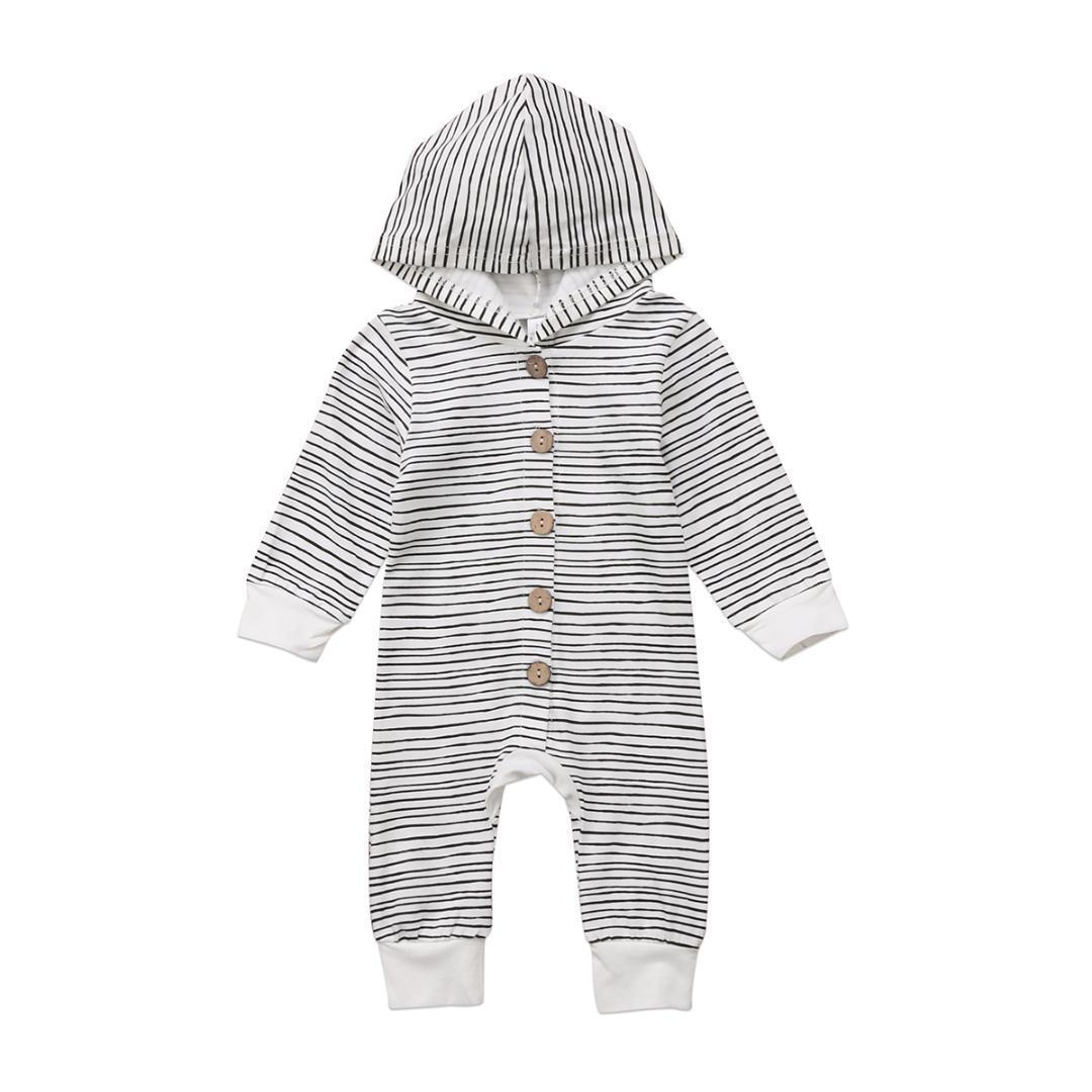 f0ca73b789d Newborn Infant Baby Boys Girls Striped Romper Long Sleeve Single ...