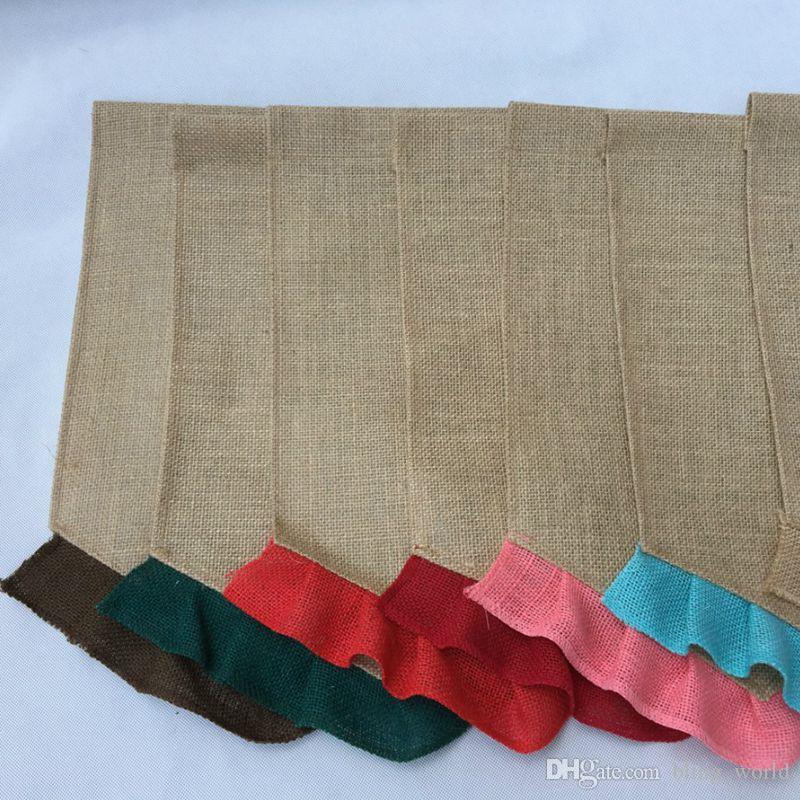 Bandeira de serapilheira em branco diy juta babados jardim bandeiras bandeira em branco portátil decorações de jardim de páscoa 14 cores yw321