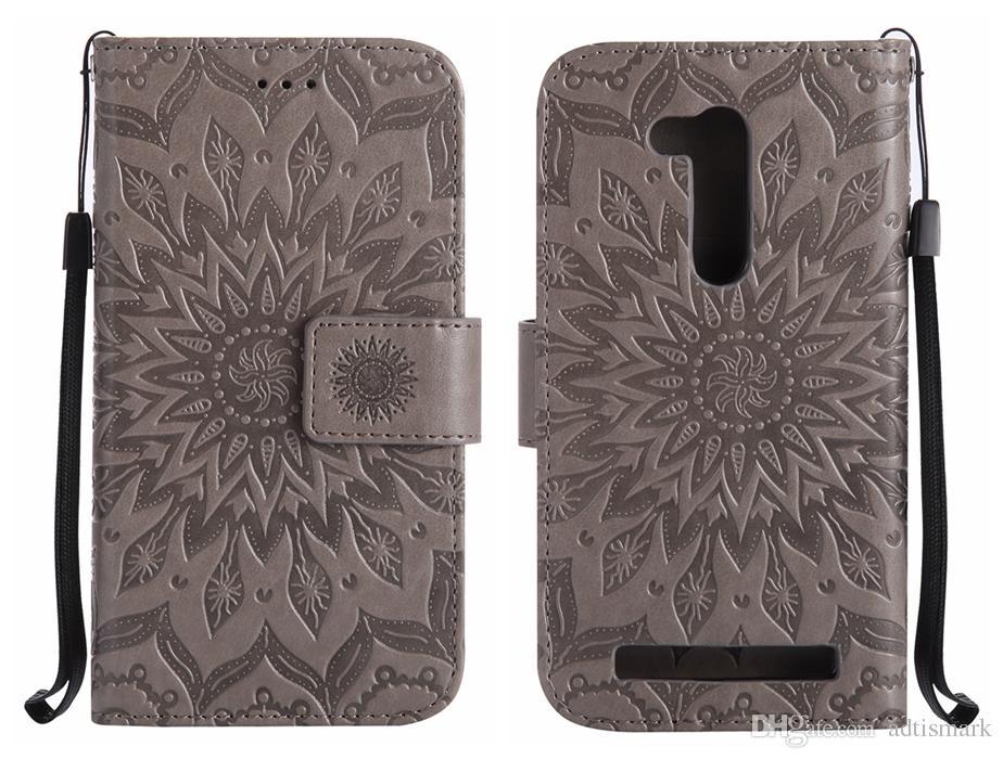 Mobile Phones Cases For ASUS ZenFone ZB452KG ZB551KL ZD552KL GO 4 Selfie Pro Case Flip Cover Luxury Leather Sunflower