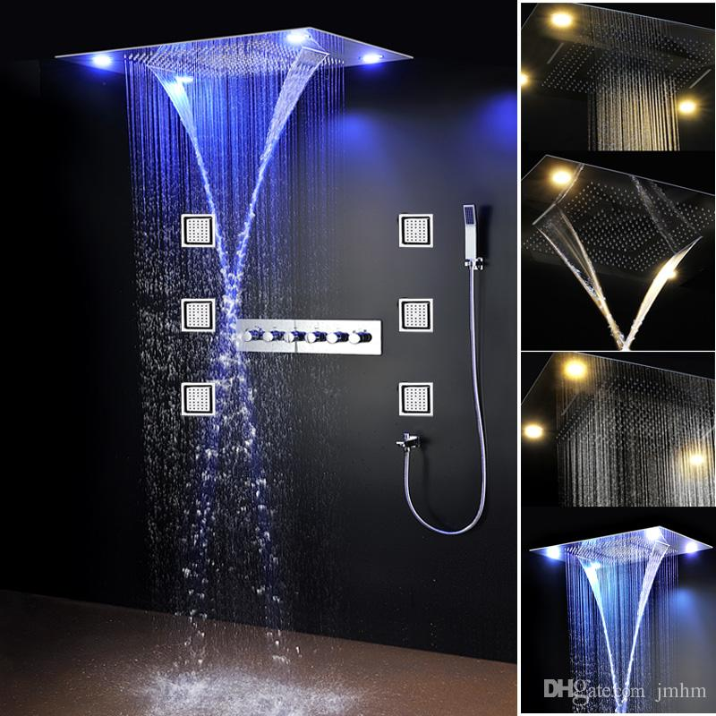 New Waterfall LED Hot and Cold High Flow Shower Faucets Set Massage Large Rain Concealed Ceiling Showerhead Body Jets Spray