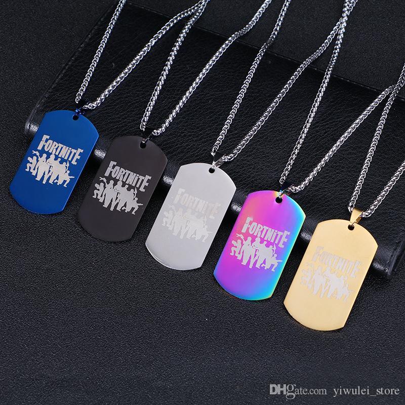 Fortnite Halskette 5 Designs Fortnite Logo Edelstahl Anhänger Laserdruck Metall Anhänger Schmuck Kinder Spielzeug Hundemarke