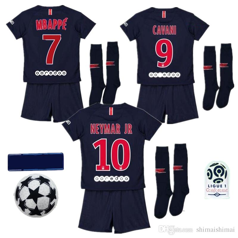 the best attitude 0bb1b 31644 Maillots PSG Kits enfants Maillot de foot Mbappe NEYMAR JR Maillots de  maria garçons FOOTBALL SHIRT CHEMISES dark blue Niño Camiseta de futbol  KIDS ...
