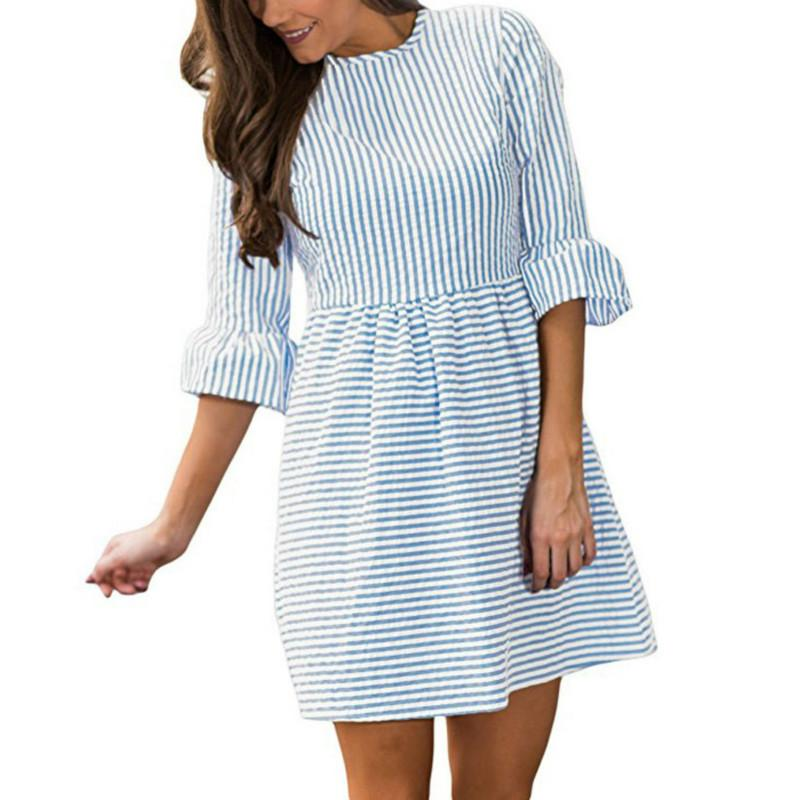 9ae6aed92a 2018 Spring Summer Girls Kawaii Striped Mini Dress Female Women Half Sleeve Cute  Dresses Sexy Plus Size Black And Gold Dresses For Juniors Black Lace Summer  ...