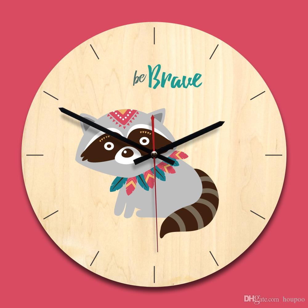 Lovely 6 Design Cartoon Animal Wood Wall Clock Watch Stickers Home