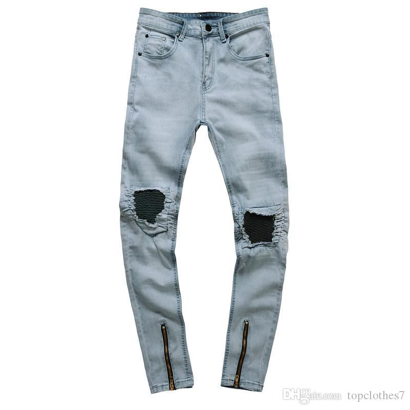 6ce29aa54746e2 2019 2018 Ripped Jeans For Men Trousers Motorcycle Moto Biker Denim Mens  Rock Punk Hip Hop Mens Pant Fashion Mens Blue Jeans Trousers From  Topclothes7