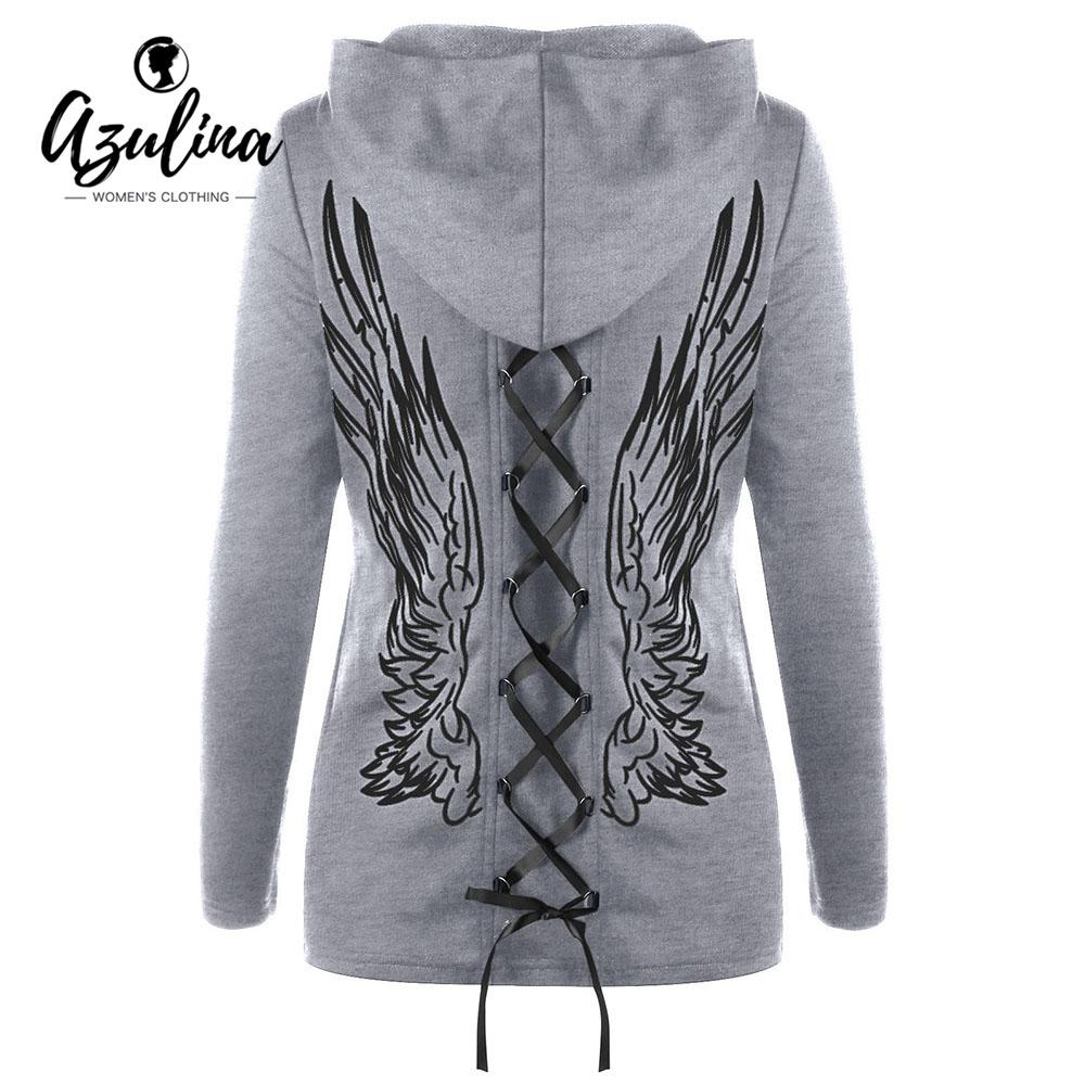 c435dcc924 AZULINA Hoodie Jacket Winter Coat Women Double Lace-up Wings Print ...