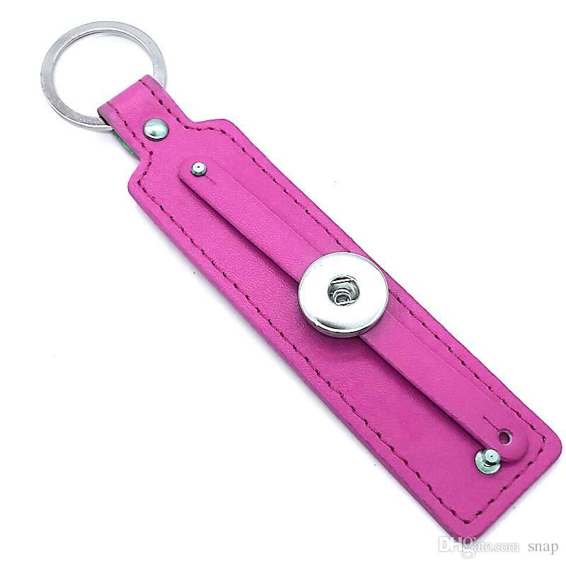 Vente chaude 002 PU En Cuir mode porte-clés fit 18mm Snap Button porte-clés Charme Bijoux Pour Femmes Hommes porte-clés Cadeau