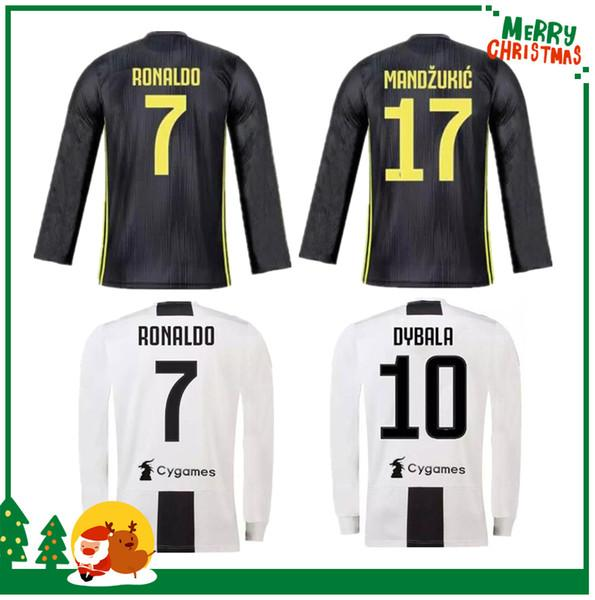 Compre Camisa Manga Longa 19 19 Juventus RONALDO DYBALA HIGUAIN POGBA Camisa  De Futebol 2018 2019 Itália Juve MARCHISIO MANDZUKIC BUFFON Longe De Casa  3ª ... 624eca2125646