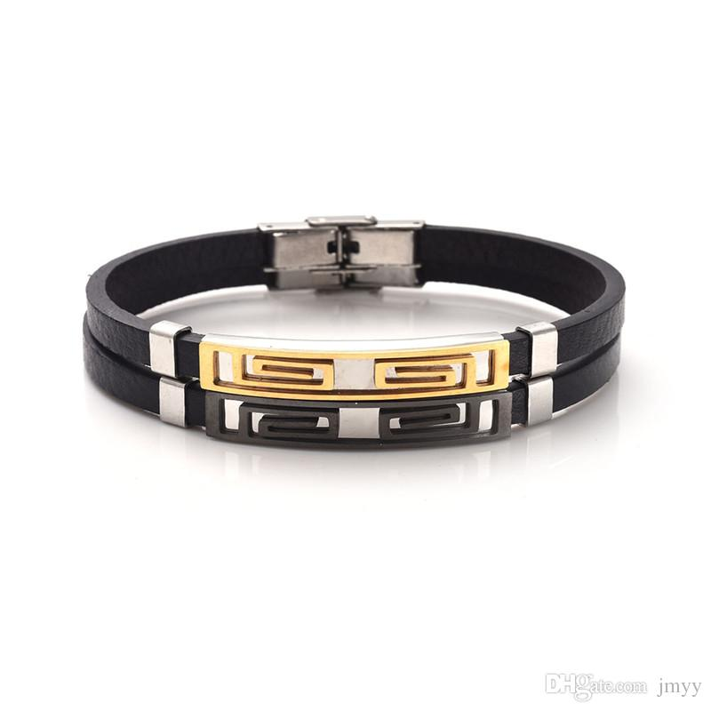 New Men Stainless Steel Genuine Leather Bracelet Cross Hollowed-out Cuff Wristband Bangle Jewelry For Boyfriend Gift