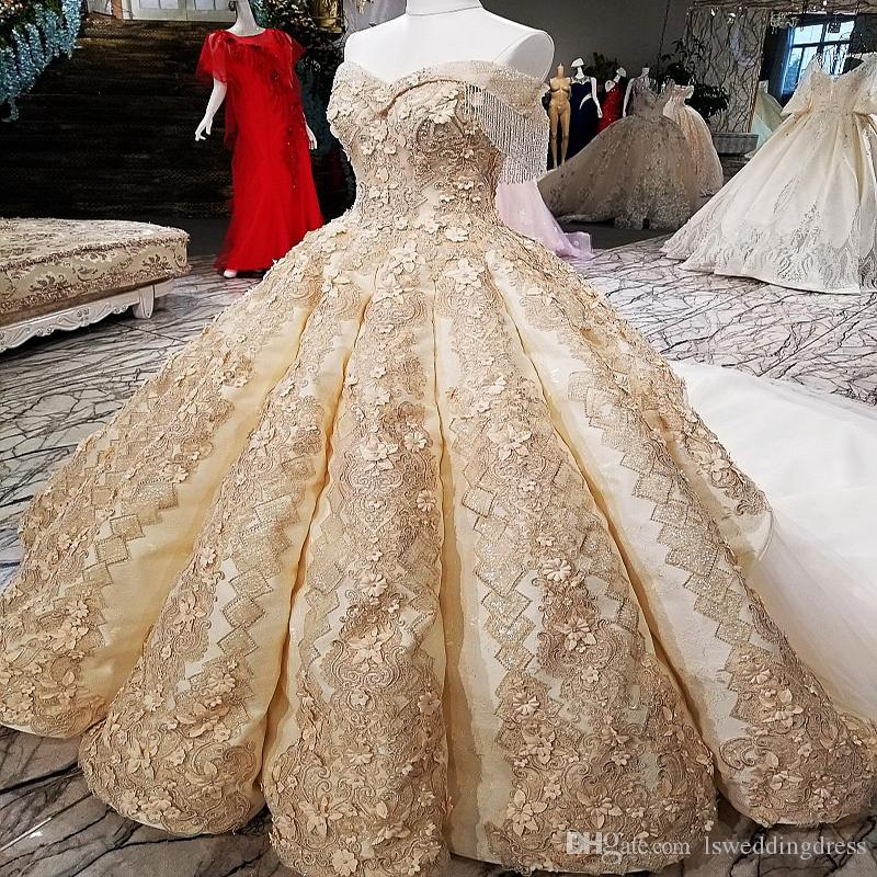 ca37691f36 2019 Big Skirt Quinceanera Dresses Off Shoulder Golden Champagne Color  Evening Dresses With Lace Train Buy Direct From China Online Shop