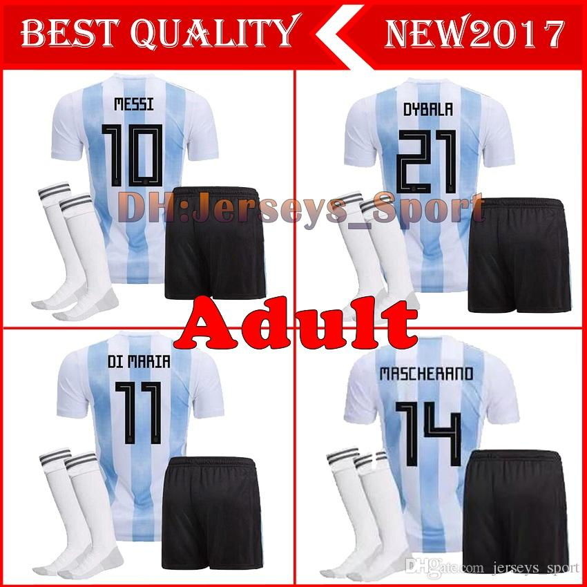 594bc2d830d 2019 2018 World Cup Argentina MESSI National Team Adults Soccer Jerseys  AGUERO DYBALA DI MARIA Football Camisetas Shirt Kit Full Sets With Socks  From ...