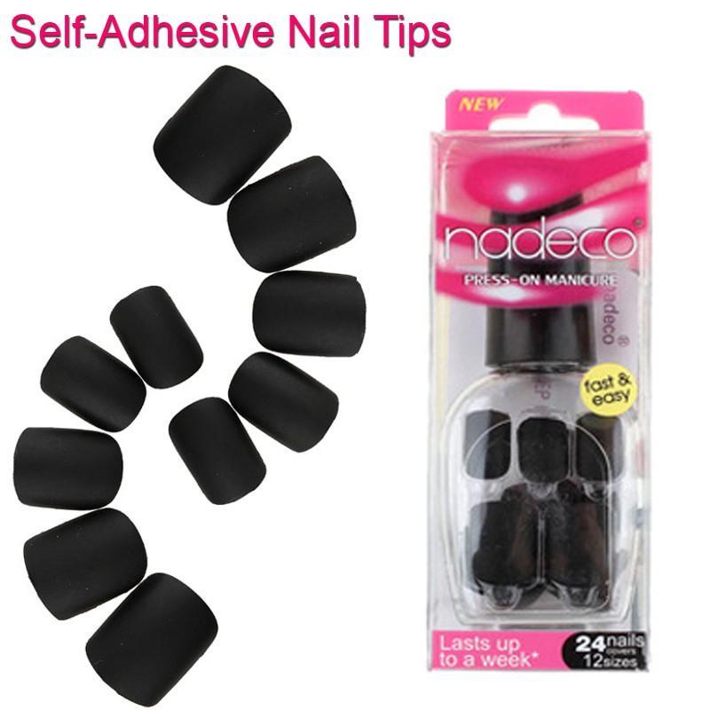 Self Adhesive Full Cover Matte Black Fake Nail Polish Tips Pure ...