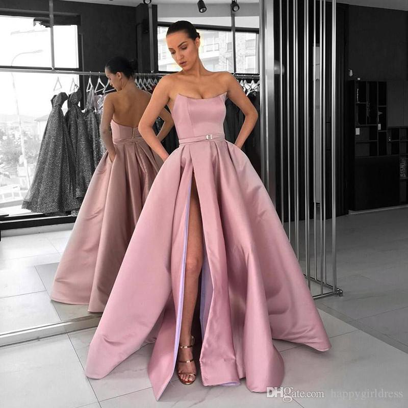 9a5b491da6c Blush Pink Prom Dresses 2019 With Pockets High Split Strapless Satin  Elegant Burgundy Arabic Women Long Formal Evening Party Gowns Turquoise Prom  Dress ...