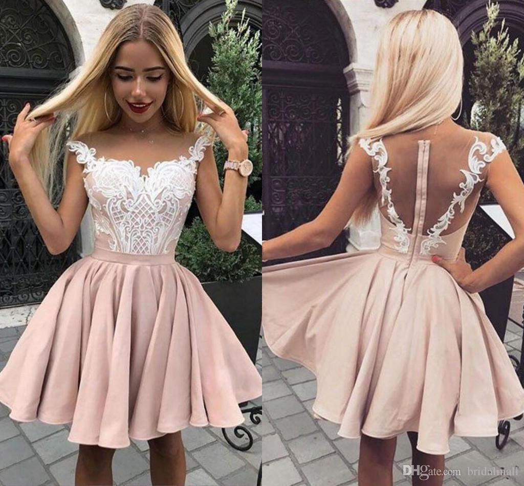 c69823f1a90 Illusion Neck Appliques Homecoming Dresses Hollow Zipper Back Short Formal  Party Gowns Pink Satin 8th Grade Girls Prom Cocktail Dresses Short Dresses  For ...