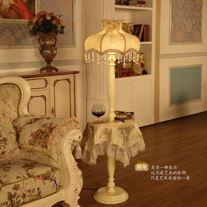 De Européen Chambre Lampadaires Art Télécommande Style Tissu Lampes Beauté Poser Salon Bois À Lumières Avec wOPkn80X