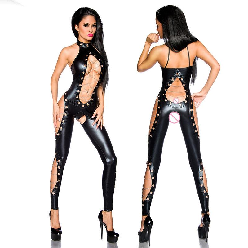 2ad186c22cb 2019 Steampunk Pvc Vinyl Leather Body Stocking Sexy Halter Latex Catsuit  Gothic Women Pole Dance Lingerie Sexy Hot Erotic Bodysuit From  Erotogenic01