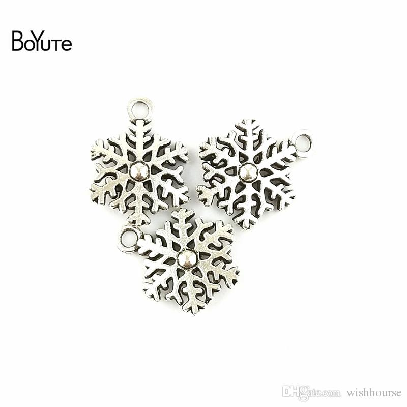 BoYuTe  13*9MM Antique Bronze Silver Plated Zinc Alloy Double Snowflake Charms for Jewelry Making Diy Hand Made Accessories